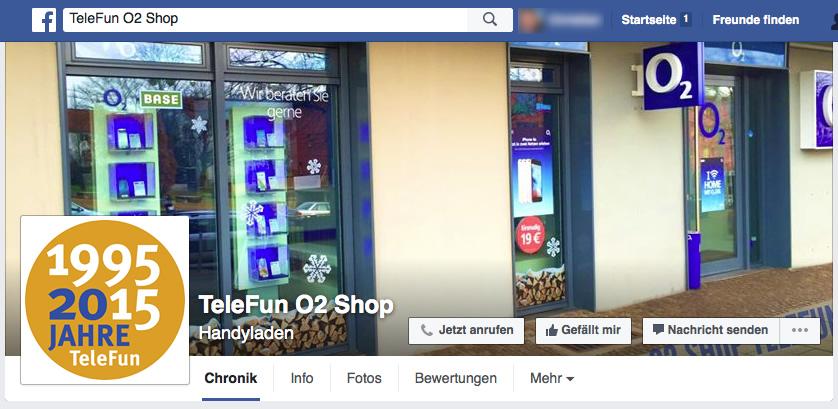 Facebook Page Telefun O2 und Vodafone Shop