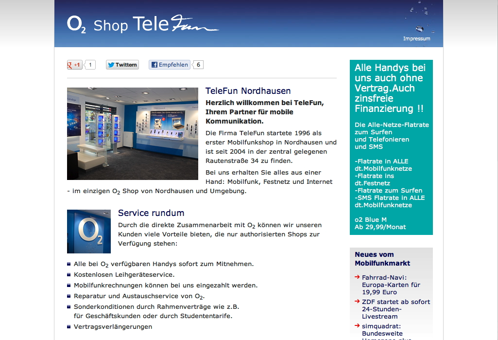 Website O2 Shop TeleFun