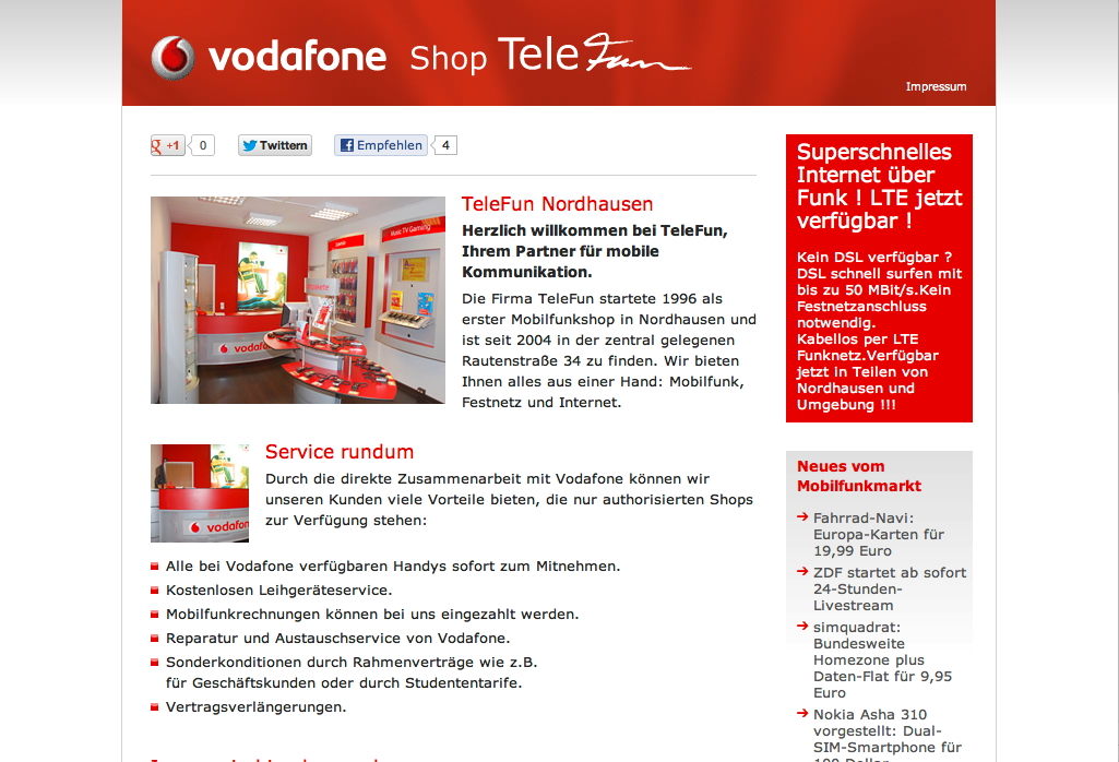 Website Vodafone Shop TeleFun