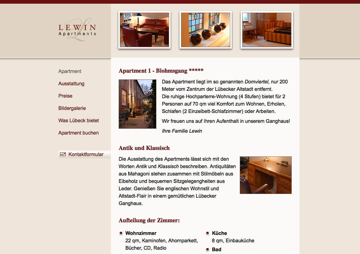Website Lewin Apartments Lübeck