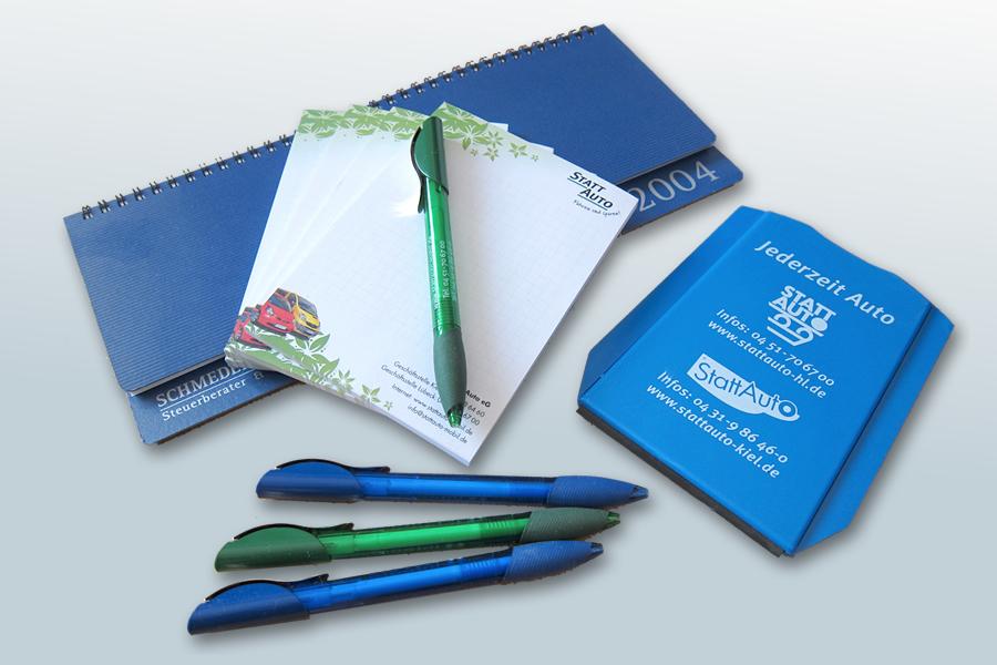 Werbemittel Kugelschreiber, Parkscheibe, Schreibblock