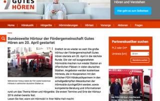 Website Fördergemeinschaft Gutes Hören